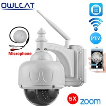 OwlCat Wireless WiFi IP Camera PTZ Onvif Dome Outdoor HD 1080P 960P SD Card 128G 5X Optical Zoom with External Microphone Audio(China)
