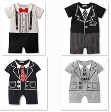 free shipping baby tuxedo romper newborn tie baby one-pieces rompers short sleeve costume bowtie shortall body suit D32