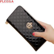 PLEEGA Brand design Crown Clutch  walelt women fashion large capacity zipper long leather hand bag Card holder phone large purse