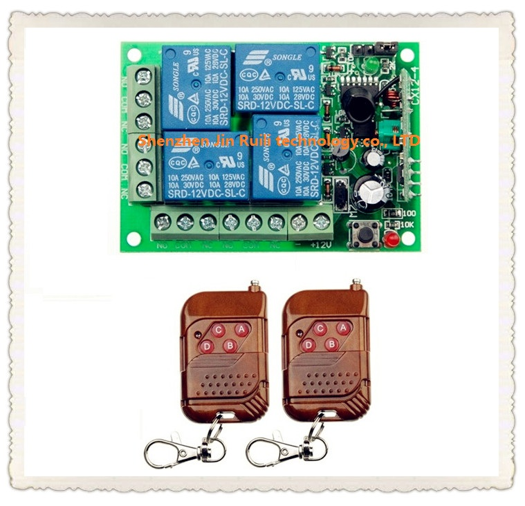 DC 12V 10A 4 channel RF Wireless Remote Control system 1 piece Receiver 2 piece Simple and practical Transmitter 315MHZ<br><br>Aliexpress