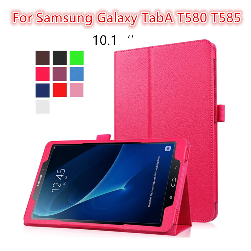 Filp PU Leather Case Cover For Samsung Galaxy TabA tab A T580 T585 10.1 Lichi Tablet Case protective stand shell Coque Funda<br><br>Aliexpress
