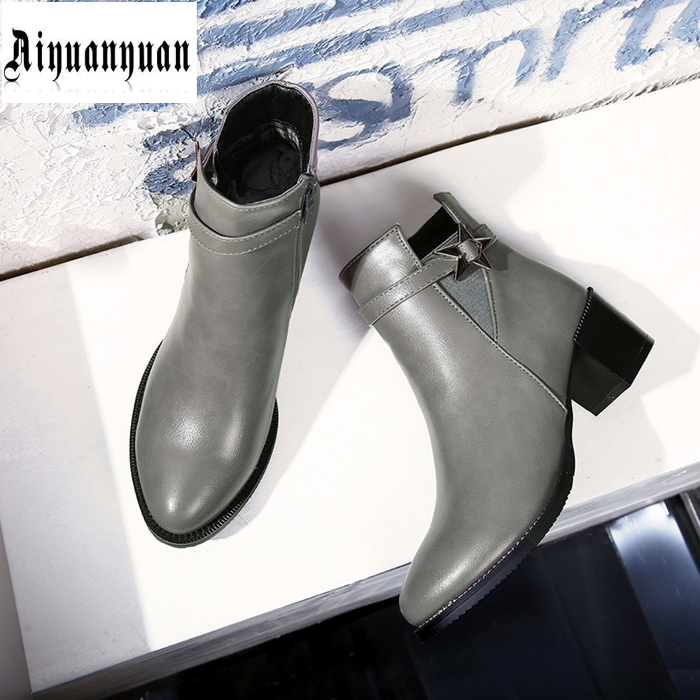 Autumn EUR Size to 43 44 45 46 47 48 Sequined decoration High quality PU Ankle Boots zipper design Popular Pointed Toe Boots<br>