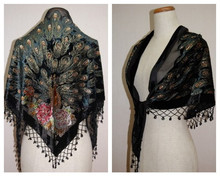Hot Sale Black Women's Velvet Silk Pashmina Embroidery Beaded Shawl Triangle Scarf Peafowl Wrap Tippet 165 x 76 x 76 cm PM005