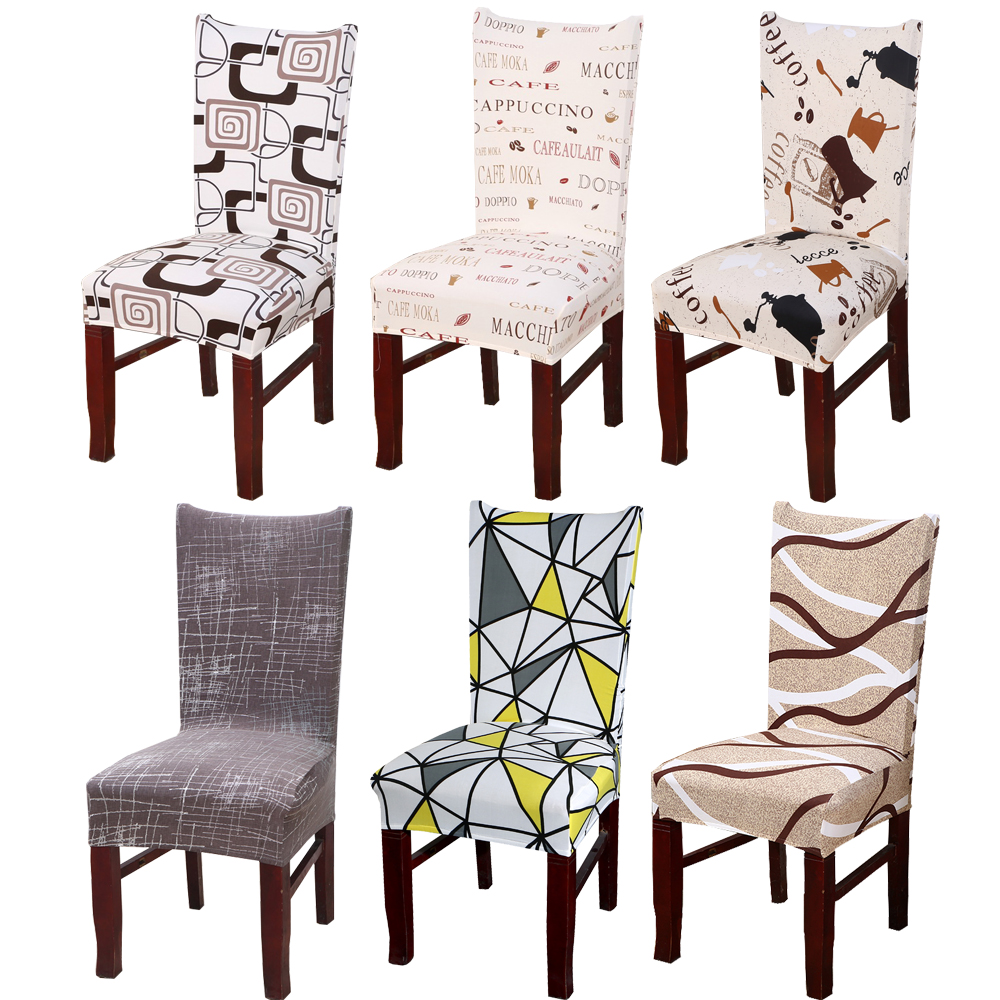 1//2X Gray Printing Pattern Dining Room Chair Cover Removable Stretch Seat Cover