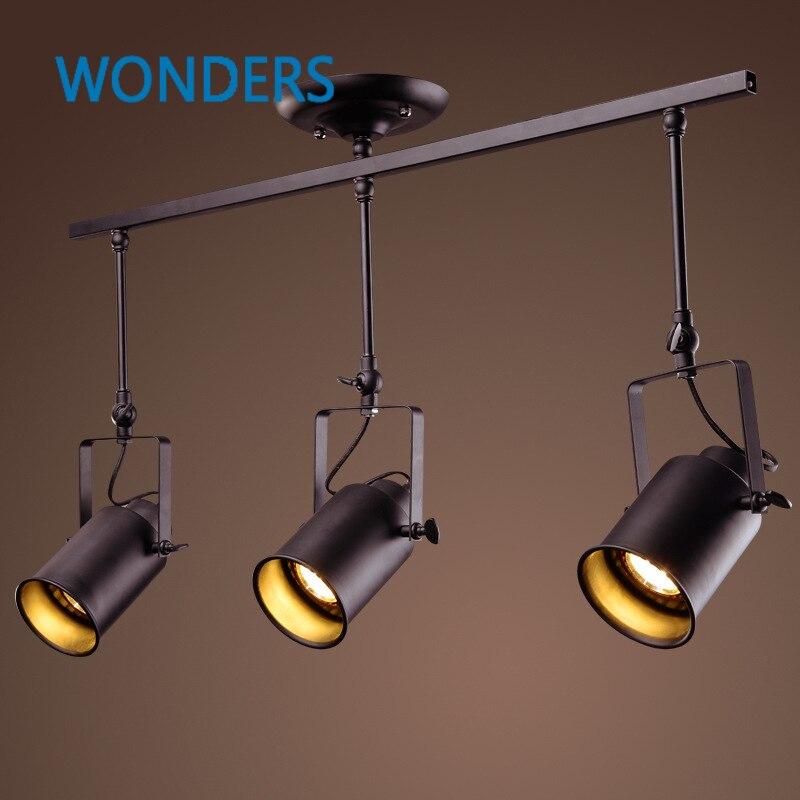 American LOFT style 1/2/3 heads bar spotlights, retro bar counter Clothing shop background wall led probe track light<br>