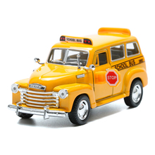 KINSMART 1:36 Alloy Diecast Metal Mini School Bus Model Toy Car Miniature Cars Toys Openable Door Pull Back Boys Brinquedos(China)