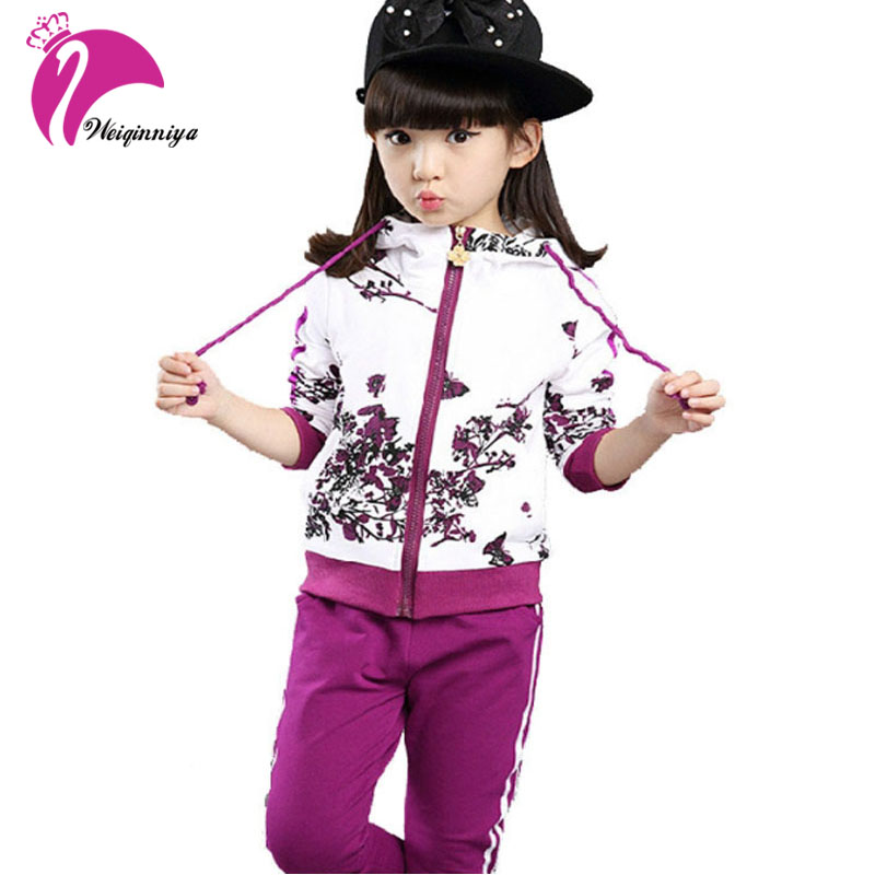 New Girls Sets Spring Autumn Baby Girls Clothes Jacket Floral Sports Hoodies+Pants 2Pcs Sets Suit Children Girls Clothing Sets(China (Mainland))