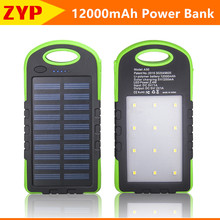 2016 Solar Power Bank Dual USB Powerbank 12000mAh External Battery Portable Charger Bateria Externa Pack for Mobile phone