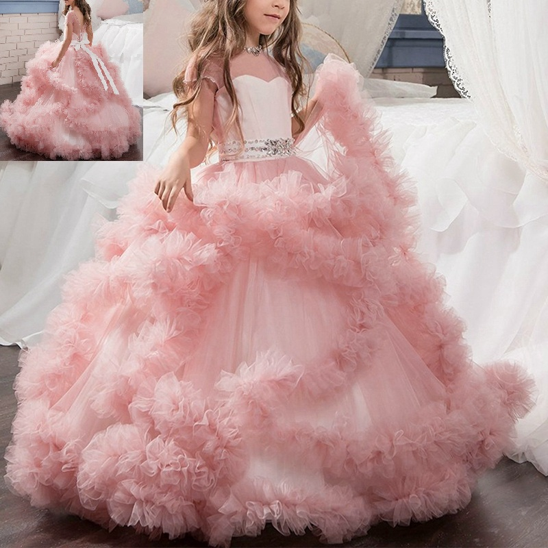 Flower Girl Dress Trailing Wedding Bridesmaid Princess Kid/'s Gown Party Dresses