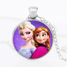 Newest Silver Necklace Elsa Anna Olaf cartoon Girl Jewelry Round Pendant Necklace Girls Collar Chain For Children Gift NR05