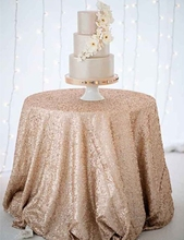 Discount Sequin Tablecloth 132 Inches Round Champagne Sequin Tablecloth for Round Table