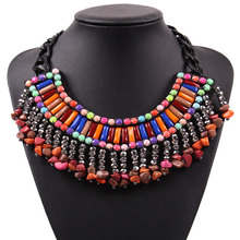 2017 New Design Fashion Black Chain Colorful Resin Stone Pendant Chunky Statement Necklace Choker For Women Party Elegant Jewel