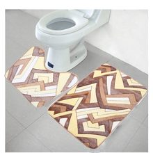 2PCS Bathroom Mats Set Bath Mat Coral Fleece Floor Memory Foam Rug Kit Toilet Pattern Non-slip Carpet Mattress Bathroom Decor(China)