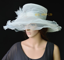 NEW 5 colours Ivory cream formal dress hat organza hat church hat with leaf flower for weddding races.FREE SHIPPING