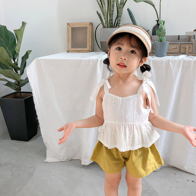 2019 New Stylish Girls 2pcs Set Bow Vest+Shorts Summer Kids Girls Suit 0-4 Years