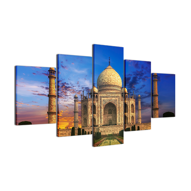 Canvas-Wall-Art-Picture-5-Panel-Taj-Mahal-Sky-Landscape-Pictures-For-Living-Room-Bedroom-Prints (3)