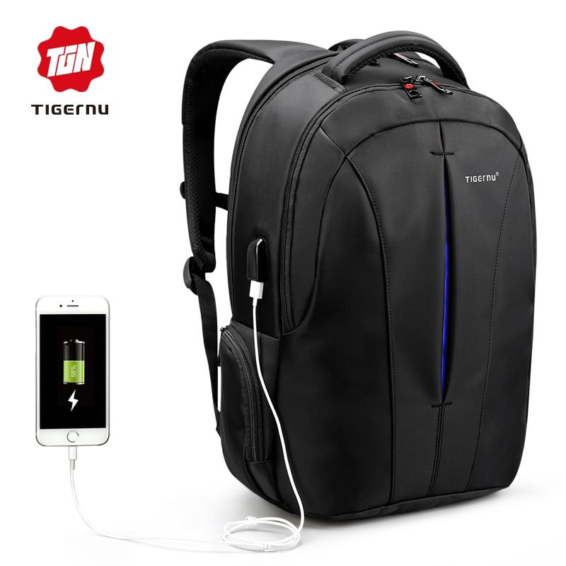 Tigernu Nylon Backpack Mens Backpack 15.6 Inch Laptop Mochila USB chargin Backpacks Male Escolar Waterproof<br>