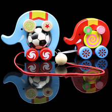 Free shipping Kids wooden Can drag/Drawable elephant car toy, Baby elephant blocks toy(China)