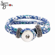 New Arrival Snap Button Bracelet Blue Flower Daisy Printed PU Leather Snap Ginger Charms Bracelet DIY Interchangeable snaps(China)