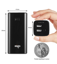 Aigo Smallest Power Bank 10000mAh Dual USB Output LED Charging Indicate Mobile Phone Backup Portable External Battery for Iphone(China)