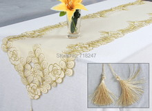 New Delicate Embroidery Table Runner Satin Solid Color Gold Embroidered Floral Handmade Cutwork Table Cloth Cover Decoration 038