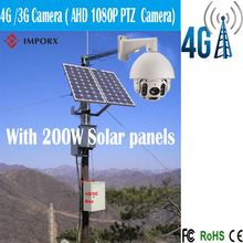 Free Shipping 4G/3G solar camera with 200W solar panels Rotary 1080P Outdoor Bullet PTZ IP Camera,2.0MP 20X Zoom