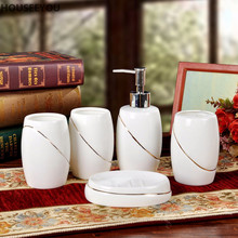Luxury Household Wash Brush Cup, Liquid Soap Dispensers, Soap Dishes Bone China Ceramics Bathroom Set Accessories 5pcs/set