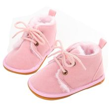 ChiChiMao New Fashion Solid Lace-Up Baby Boots Cross-tied For Autumn/Winter Baby Shoes For Warm Baby Plush Boots Shoes Wholesale