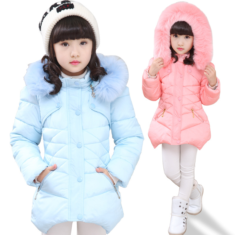 Children Jacket &amp; Coats For Girls New 2017 Design Fashion Fur Hooded Thick Warm Parka Down Kids Clothes Cotton Outwear ClothingОдежда и ак�е��уары<br><br><br>Aliexpress