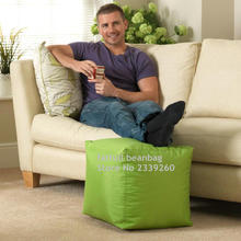 COVER ONLY NO FILLER - green footstool bean bag cube ottomans