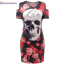 XINGUANGYA 2017 Summer Sexy Off the Shoulder Skull Head Roses Print O-Neck Party Dresses Women Bandage Bodycon Club Dress S-L