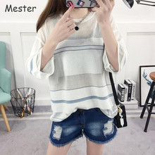 Women Half Sleeve Knit Shirt Summer Ice Linen Knitted Striped Shirts Casual Loose Sheer Mesh Top See Through Air Conditioning