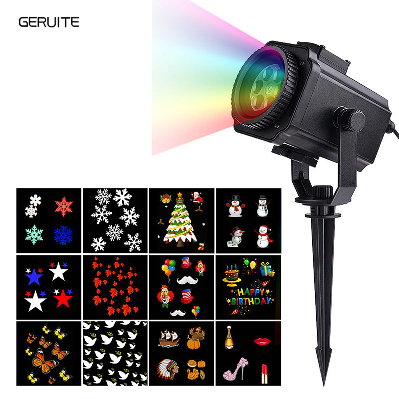 GERUITE 12 Slideshow Laser Projection Lamp Disco DJ Stage Lighting Effect Waterproof Home Garden Star Light Indoor Decoration<br>
