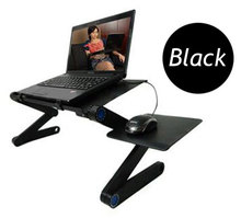 Black red aluminium lapdesk ergonomic foldable laptop table notebook computer desk with mouse tray for using at bed sofa(China)