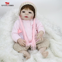 Buy 55cm Reborn Bebe Dolls Full Silicone Vinyl Baby Doll Reborn Lifelike Princess Girls Bebe Dolls Kids Birthday Gift Girls Toys