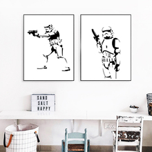 Star Wars Film Soldier Black and White Painting Art Print A4 Poster Picture Wall Painting Canvas Children Bedroom Home Decor