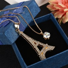 Hesiod Fashion Boutique Romantic Paris Love Eiffel Tower Crystal Pendant Women Necklace(China)