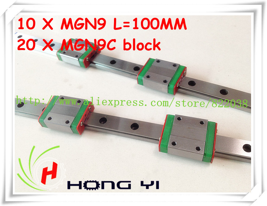 Square linear guide 10 X  MGN9 L=100mm with 20pcs MGN9C linear blocks(can be cut any length)<br>