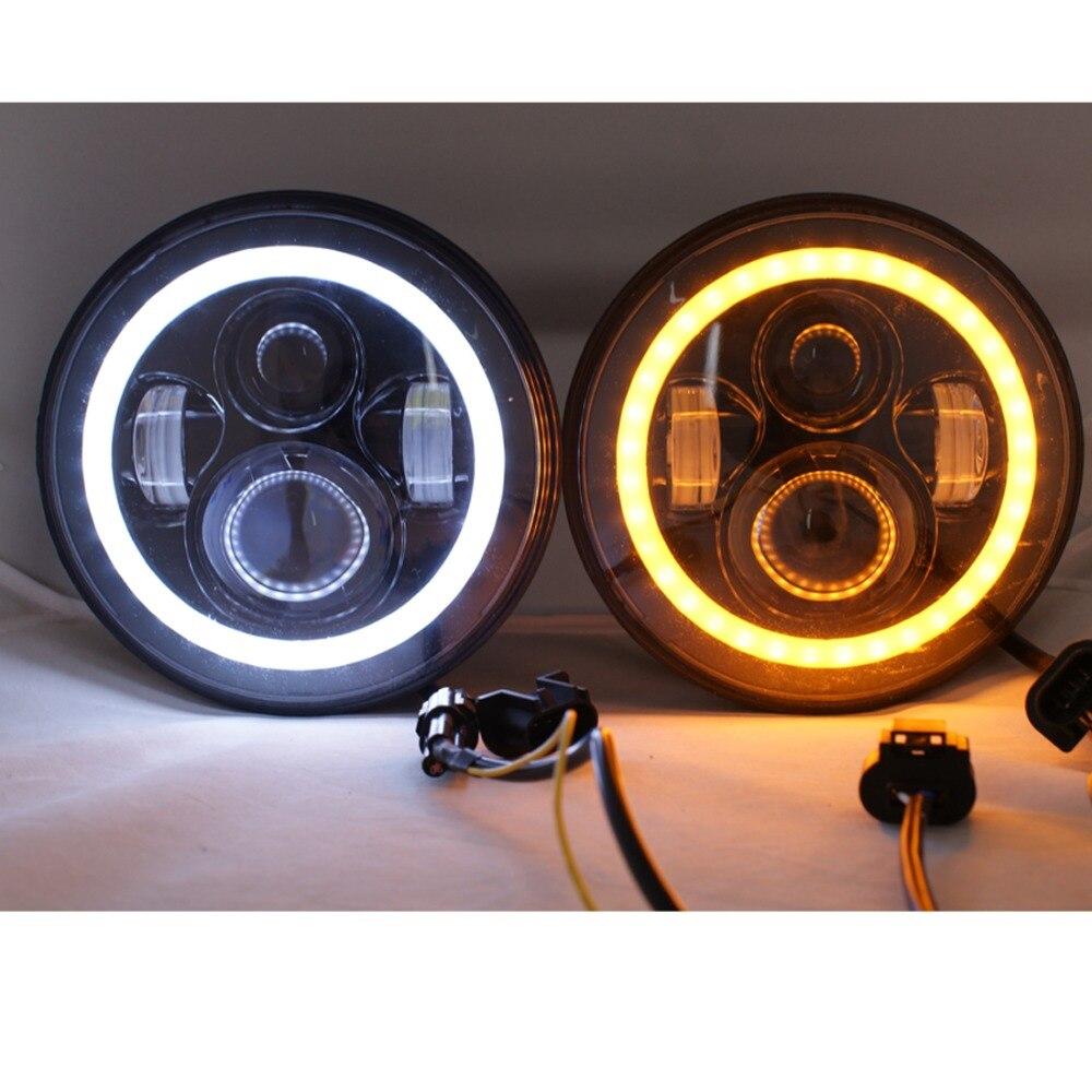 7 Inch LED halo Headlights Angel Eyes For Jeep Wrangler JK CJ  Daymaker with Halo Angel Eye &amp; DRL &amp; Turn Signal Lights<br><br>Aliexpress