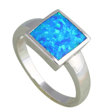 Simple Square design Silver Stamped fashion jewelry Blue fire Opal party Rings for women USA SZ #6#7#7.5#9 OR697A
