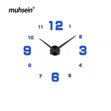 muhsei new 3D DIY Large Decorative Wall Clocks Watch Unique Gift Full Black Wall Clock Modern Design Home Decoration Big Mirror(China)
