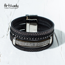 Artilady 4 layers rhinestone bangle fashion winter charm leather bracelet women jewelry for party jewerlry  BW