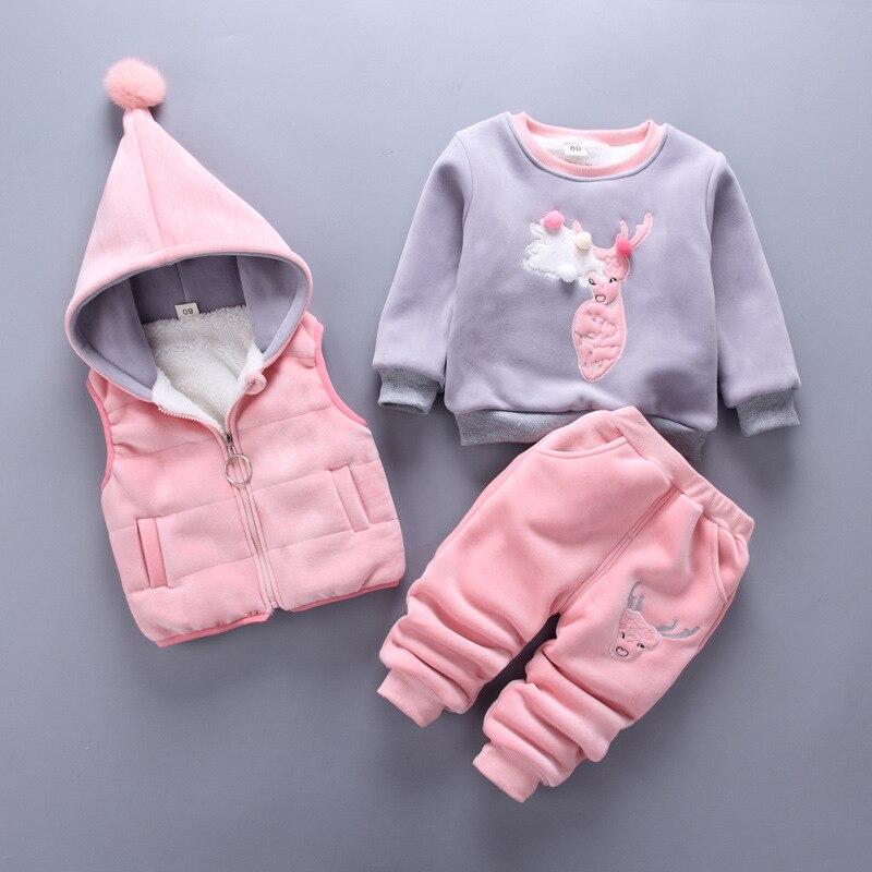 3Pcs Animal Deer T shirt+Pants+Jacket Winter Warm Baby Boy Clothes Cotton Baby Girl Clothing Set Long Sleeve Newborn Suit Infant<br>