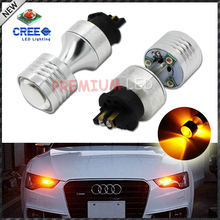 2pcs Amber  Error Free PWY24W PW24W CRE'E XP-E LED Bulbs For Audi A3 A4 A5 Q3 VW MK7 Golf CC Front Turn Signal Lights,DRL Lamps