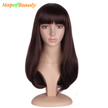 "MapofBeauty 20"" Long Brown Black Hair Wigs For Women Synthetic Hair Heat Resistant with Flat Bangs False Hair Pieces Hairstyles(China)"