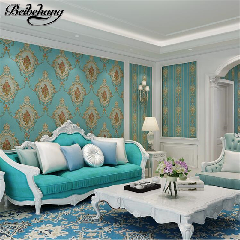 beibehang American flower 3D pressure AB with paragraph non-woven wallpaper bedroom living room TV background wallpaper<br>
