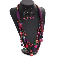 2015 Newest charm luxurious 's dopaminergic multi-layer colorful wood bead knitted coconut shell necklace N216-2