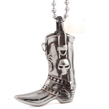 New Distinctive Stainless Steel Retro Boots Pendants Necklaces for Men Fashion Cremation Jewelry Urns for Ashes Keepsak