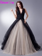 Black Nude Colorful Tulle Gothic Wedding Dresses With Color Non White Halter Bridal Gowns Non Traditional Robe De Mariee Real(China)