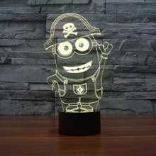 7 Colors change light small yellow people cartoon table lamp 3d light led night light touch sensor lamp for child gift IY803478